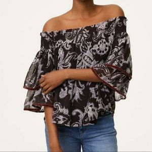 NWT LOFT / off shoulder paisley ruffle blouse